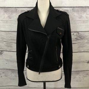 Cache Black Knit Moto Jacket Zippers Small Stretch